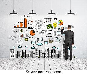 concept, tekening, zakenmens