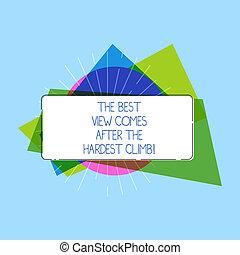 concept, tekst, acetaat, vorm, climb., strip., pa???e?, bovenzijde, schrijvende , zakelijk, best, witte , kleurrijke, reiken, na, inspanning, dromen, woord, vast lichaam, rechthoekig, hardest, vorm, komt, aanzicht