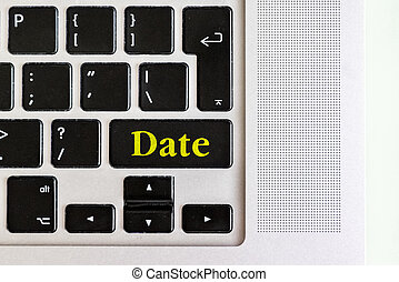 """concept, tekst, bovenzijde, toetsenbord, vrijstaand, gele, knoop, ontwerp, """"date"""", v, draagbare computer, aanzicht"""