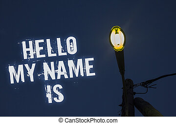 concept, tekst, je, boodschap, verlichten, blauwe hemel, ideeën, schrijvende , is., nieuw, presentatie, iemand, zakelijk, introduceren, donker, reflections., woord, post, wolken, naam, vergadering, bewolkt, licht, mijn, hallo