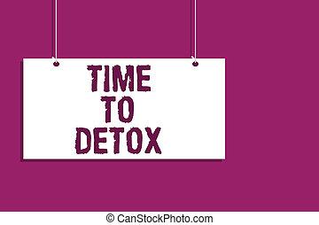 concept, tekst, meldingsbord, hangend, afsluiten, boodschap, open, paarse , schrijvende , achtergrond., detox., gezondheid, behandeling, communicatie, plank, voeding, dieet, betekenis, zuiveren, handschrift, moment, tijd, verslaving