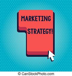 concept, tekst, product, strategy., toetsenbord, klikken, verkopen, dienst, schrijvende , rood, richting, zakelijk, marketing, cursor., plan, klee, drukken, bevorderen, woord, bevel, richtingwijzer, actie, of