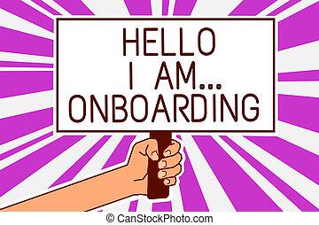 concept, tekst, protest, boodschap, scheeps , stralen, paarse , schrijvende , achtergrond., onboarding., vasthouden, u, poster, am..., hand, betekenis, schaaf, het vertellen, man, of, persoon, belangrijk, handschrift, hallo