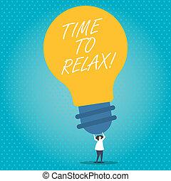 concept, tekst, studeren, tijd, betekenis, relax., of, breken, moment, ontspanning, handschrift, werken, leisure.