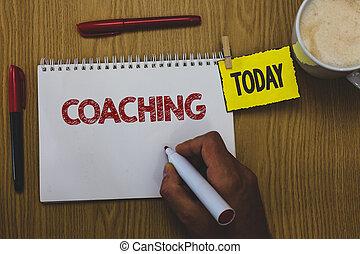 concept, tekst, teken, tafel, doel, persoonlijk, schrijvende , klant, vasthouden, coaching., steunen, bereiken, vandaag, koffie, zakelijk, aantekenboekje, cup., man, woord, houten, specifiek, persoon, belangrijk