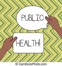 concept, tekst, tekens & borden, gemeenschap, een, gehouden, tabletten, leeg, verbetering, twee, schrijvende , anderen, gezondheid, boven, publiek, health., zakelijk, regering, space., bescherming, handen, figured, woord