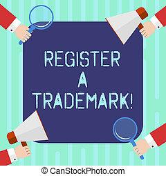 concept, tekst, trademark., logo, vergroten, schrijvende , lijst, 4, vasthouden, megafoon, bedrijf, zakelijk, merk, hu, glas, handen, officieel, woord, registreren, corners., analyse, registreren, elke, of