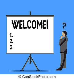 concept, tekst, welcome., iemand, leeg, begroeting, schrijvende , staand, vraagteken, naast, boven, hoofd, zijn, amiable, zakelijk, screen., warme, thanked, gehouden van, woord, acknowledgement, zakenman