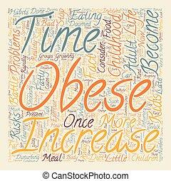 concept, tekst, wordcloud, achtergrond, zwaarlijvigheid, kindertijd