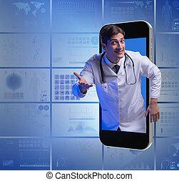 concept, telemedicine, arts, smartphone