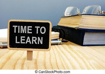 concept., tempo, desk., caneta, livros, aprender