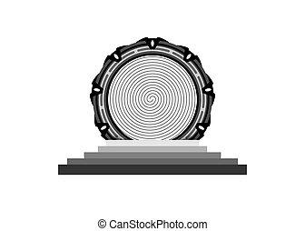 concept, temps, arrière-plan., machine, transparent, stargate, étranger, portail, portail, icône, logo, entrée, isoler, construction, spatial