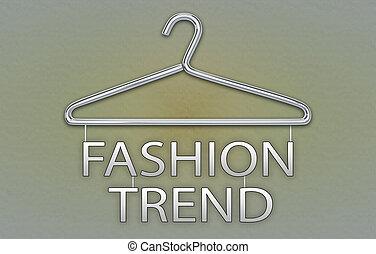 concept, tendance, mode, cintre, bannière, vêtements