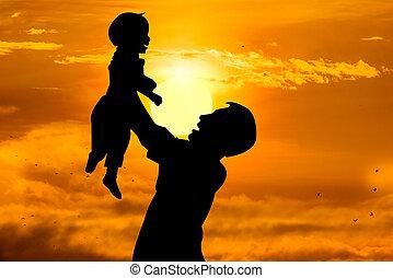 concept, tenue, père, père, sien, soleil levant, enfant, jour