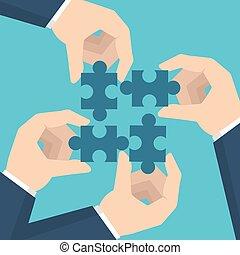 concept., tenue, vecteur, homme affaires, style, puzzle., collaboration, illustration, mains, plat