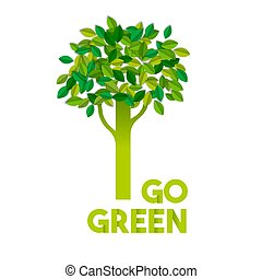 concept, texte, arbre, signe, couper papier, vert, aller