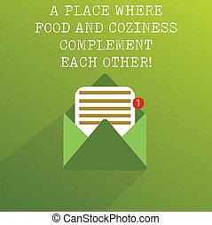 concept, texte, autre., une, papier, confort, message, ouvert, feuille, vide, confortable, nourriture, complément, enveloppe, signification, venir, restaurant, endroit, chaque, écriture, revêtu, où, dehors.