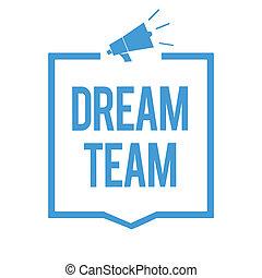 concept, texte, cadre, unité, dehors, haut-parleur, groupe, faire, écriture, team., mieux, porte voix, bleu, business, communiquer, important, information., prefered, mot, personne, rêve, ou