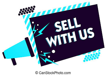 concept, texte, cadre, vente, message, électronique, vendre, vendeur, regarder, plate-forme, ligne, porte voix, parler, haut-parleur, loud., bleu, signification, important, rayé, commerce, us., écriture