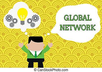 concept, texte, communication globale, ensemble., spans, la terre, n'importe quel, debout, fonctionnement, système, écriture, complet, bulle, network., mains affaires, ampoule, imaginaire, homme, entier, mot, lumière, haut, engrenages