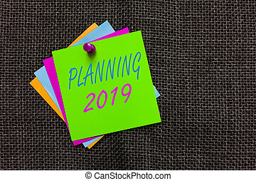 concept, texte, esprit, papier, fin, objectifs, idées, long, écriture, arrière-plan., 2019., commencer, positionnement, business, communiquer, important, jute, terme, mot, notes, messages, planification, rappels
