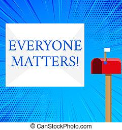 concept, texte, everyone, droit, vide, ouvert, rouges, matters., drapeau, blanc, a, fonctions, nous, moyens, grand, enveloppe, égale, boîte lettres, signification, haut, signalling., petit, écriture