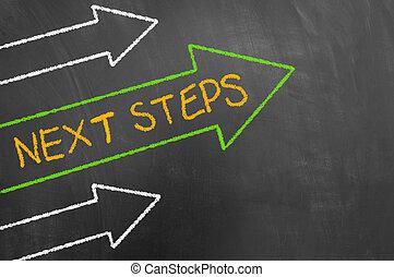 concept, texte, flèches, suivant, craie, étapes, tableau noir