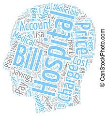 concept, texte, hôpital, réduire, comment, wordcloud, fond, factures, ton