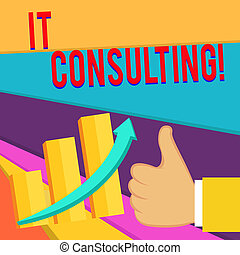 concept, texte, il, foyers, conseiller, pouce, leur, graphique, écriture, arrow., chaud, performance, consulting., bon, monter, signification, organisations, barre, reussite, haut, escalating, analysisage, écriture