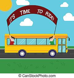 concept, texte, il, vélos, dehors, trip., deux, tenue, équitation, délassant, autobus, activité, loisir, moment, crosse, bannière, jour, ride., gosses école, intérieur, signification, s, temps, écriture