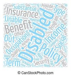 concept, texte, incapacité, wordcloud, fond, ligne, assurance