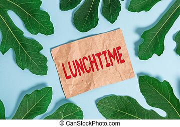 concept, texte, lunchtime., petit déjeuner, dîner., mot, écriture, avant, après, repas, jour ouvrable, milieu