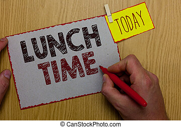 concept, texte, milieu, papier, marqueur, petit déjeuner, avant, idées, écriture, time., tenue, rappel, après, business, pince, exprès, déjeuner, jour, homme, mot, bois, dîner, table., repas