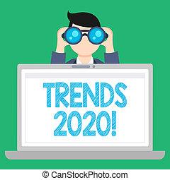 concept, texte, ordinateur portable, vide, général, tendances, quelque chose, année, suivant, espace ouvert, binoculaire, écriture, regarder, tenue, direction, business, screen., homme, mot, développer, 2020.