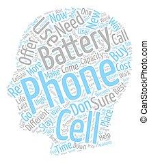 concept, texte, piles, téléphone portable, wordcloud, fond