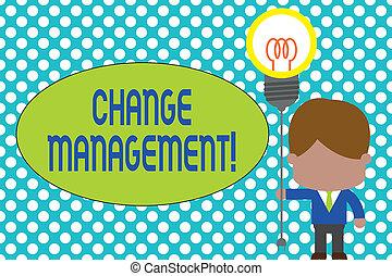 concept, texte, relier, management., debout, écriture, tenue, cravate, business, startup., direction, nouveau, ampoule, changement, homme, bouchon, mot, douille, lumière, idea., policies, organisation, remplacement