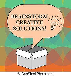 concept, texte, sur, idée, vide, créatif, ouvert, discussion groupe, écriture, intensif, parole, carton, bulle, idée génie, box., business, halftone, indépendant, icône, mot, intérieur, solutions.