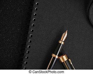 concept, textured, pen, aantekenboekje, zwarte achtergrond, handtekening, fontijn