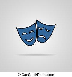 concept., théâtre, masques, illustration