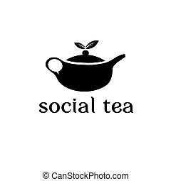 concept, thé, vecteur, conception, gabarit, social
