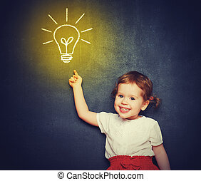 concept, the idea of a happy little girl with a bulb at the blac