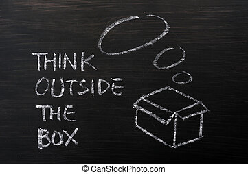 "concept, ""think, -, box"", craie, dehors, dessin"