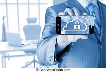 concept, tient, téléphone, nuage, fond, sécurité, blanc, intelligent, homme