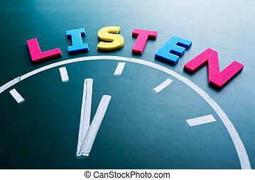 concept, tijd, luisteren