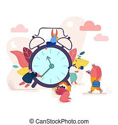 Concept Time Management, Businessman in a Hurry, Alarm Clock Rings, Sleeping Woman with Coffee for banner, presentation, social media, posters. Vector illustration
