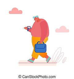 Concept Time Management, Businessman in a Hurry with Alarm Clock Ringing for banner, presentation, social media, posters. Cartoon Flat Vector illustration
