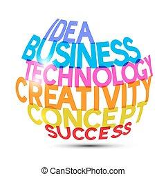 concept, titres, business, reussite, créativité, idée, illustration, vecteur, fond, blanc, technologie
