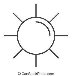 concept, toile, blanc, signe, ligne, graphics., icône, fond, concept, icône, mobile, soleil, style, contour, été, lumière soleil, vecteur, design., mince