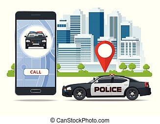 concept, toile, usage, smartphone, police, bannière, urgence, mobile, app, screen., illustration, infographics, site, vecteur, appeler, sos, smartphone.