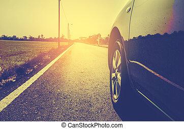 concept, tonalité, campagne, vendange, voyage, moderne, couleur, voiture, côté, route, vue